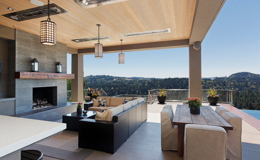 Mountain view patio with flush mount W-Series heaters. Photo via Stoneridge Custom Development.