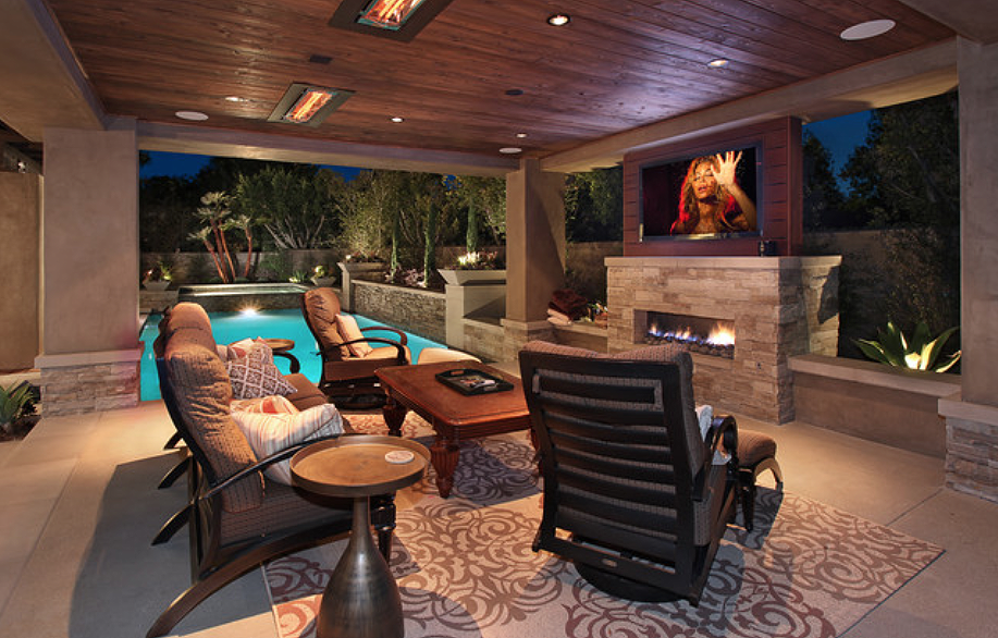 Luxury patio with flush mounted WD-Series heaters. Photo via Urban Landscape.