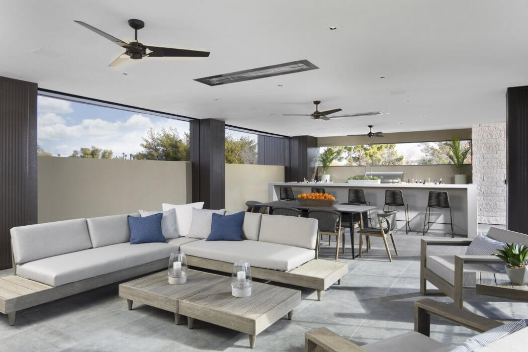 W-Series flush mounted heaters are specified for the outdoor dining and living room in Las Vegas, NV.