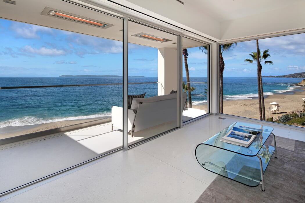 Minimalist residence in Laguna Beach, CA  compliment Infratech's flush-mounted energy efficient and eco-friendly heaters.