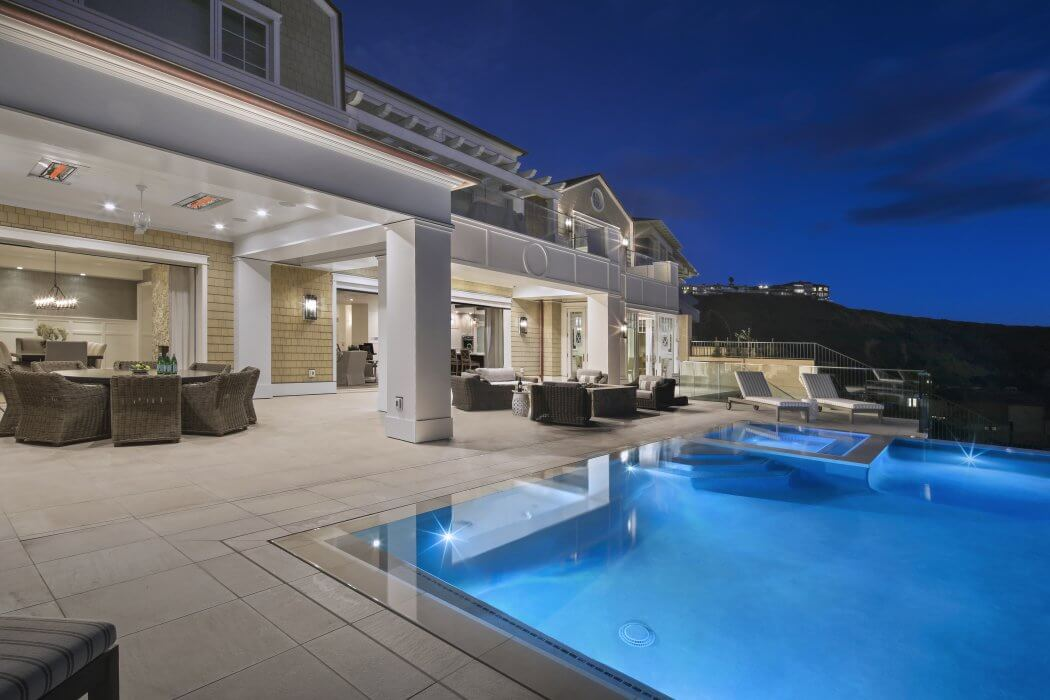 Nightly swimming and mountain views made enjoyable year around with Infratech dual element flush mounted heaters.