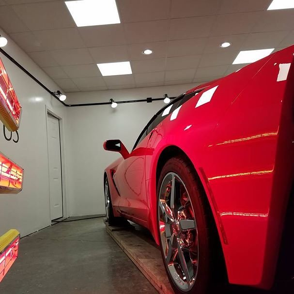 Our Model SR-6000 short wave curing system ensures this Chevy Corvette stays glossy.