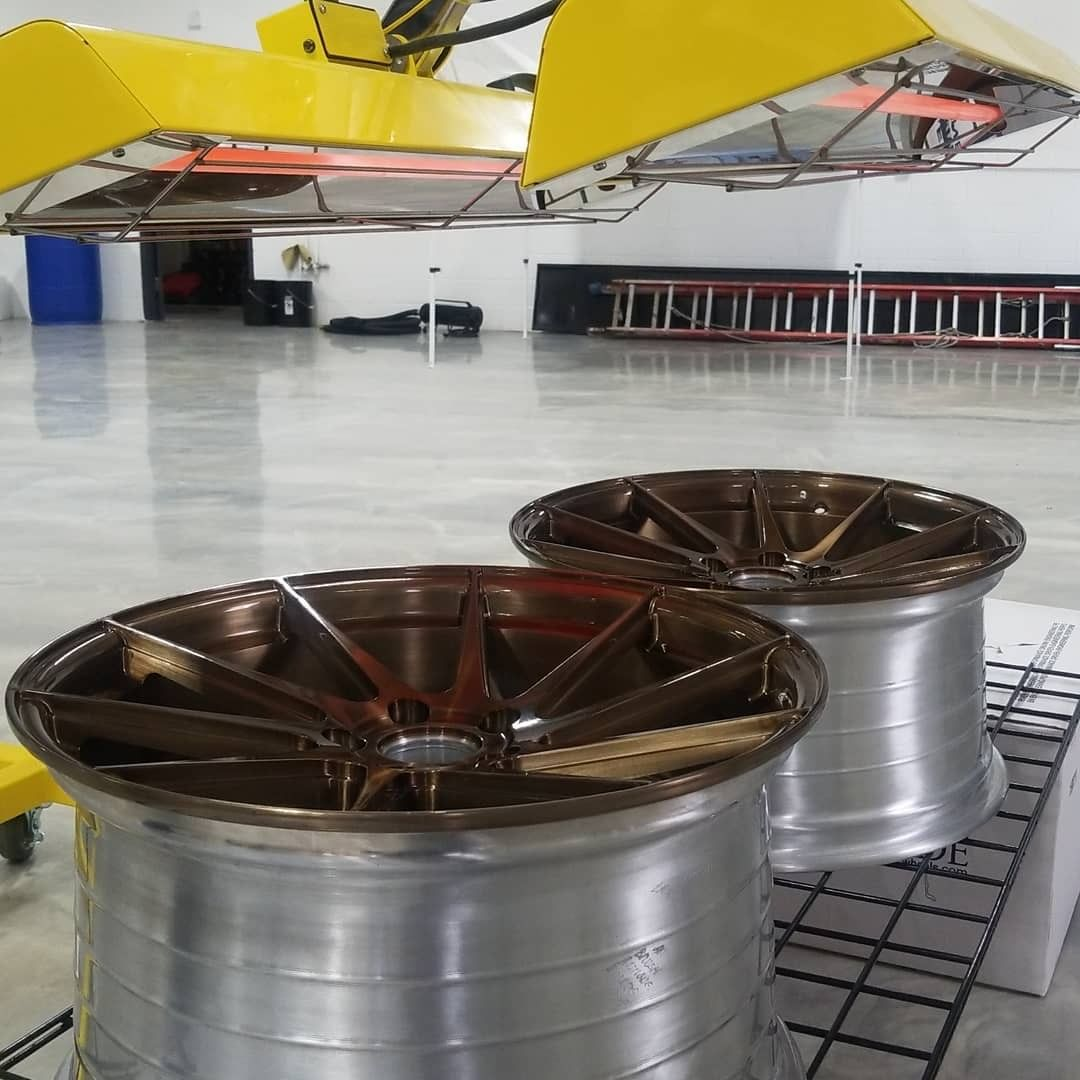 Wheels getting extra curing love with our Model S-2002 medium wave system.