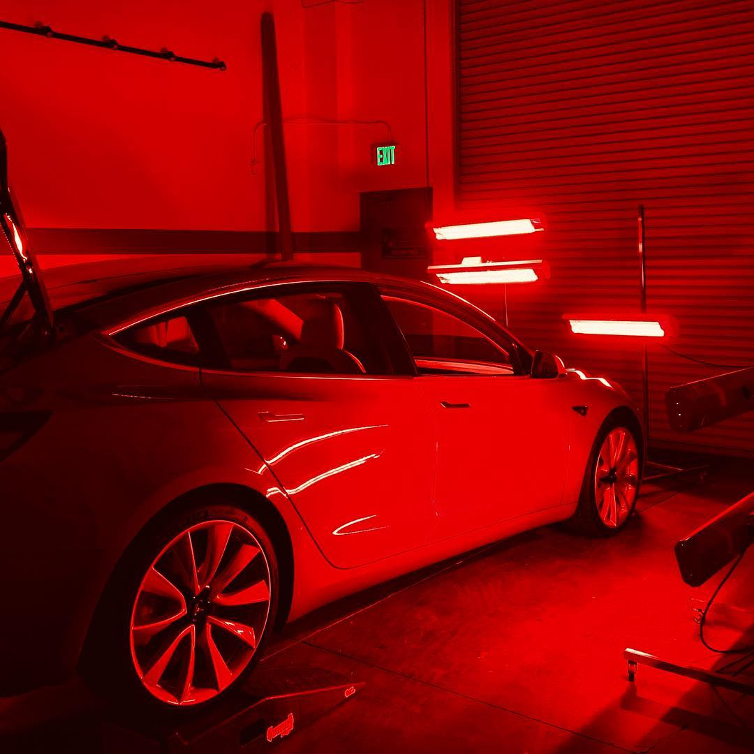Multiple Infratech short wave system models light up this Tesla for the ultimate paint protection package.