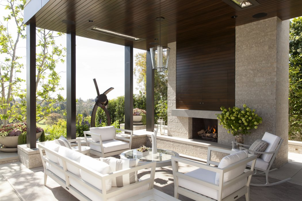 Pacific Palisades home with W-Series flush mounted heaters for extended nights outdoors, year-round.