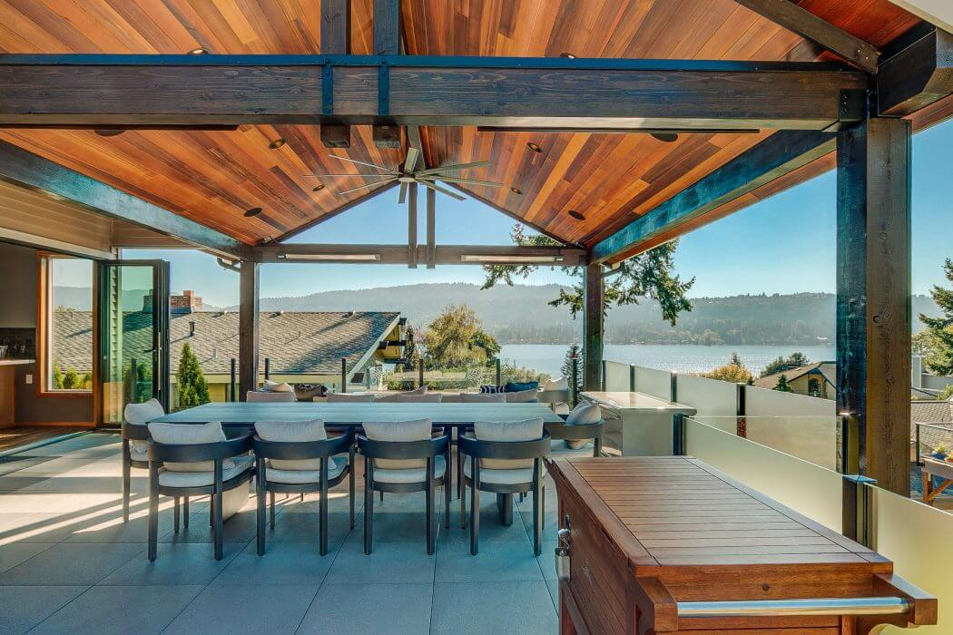SL-Series heaters installed to the frame of this wonderful lakeside view outdoor deck.