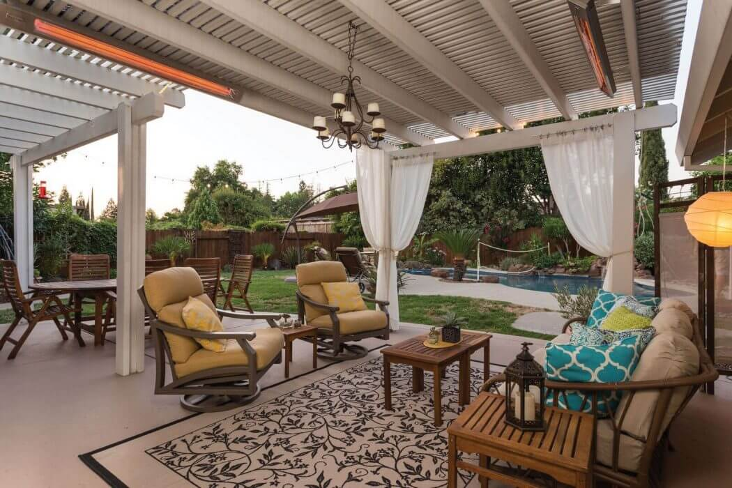 Infratech's Slimline heaters featured in this homeowners backyard living space in Folsom, CA.