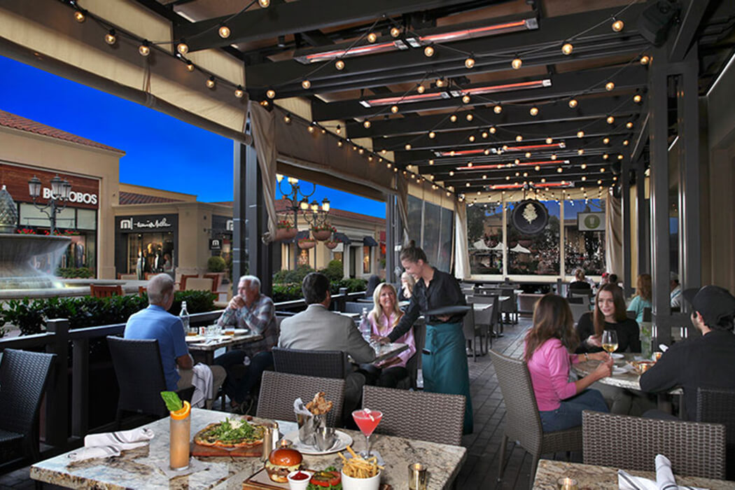 Great Maple Restaurant in Fashion Island, Newport Beach features ceiling-mounted Slimline heaters to make the most of their outdoor seating area, year-round.