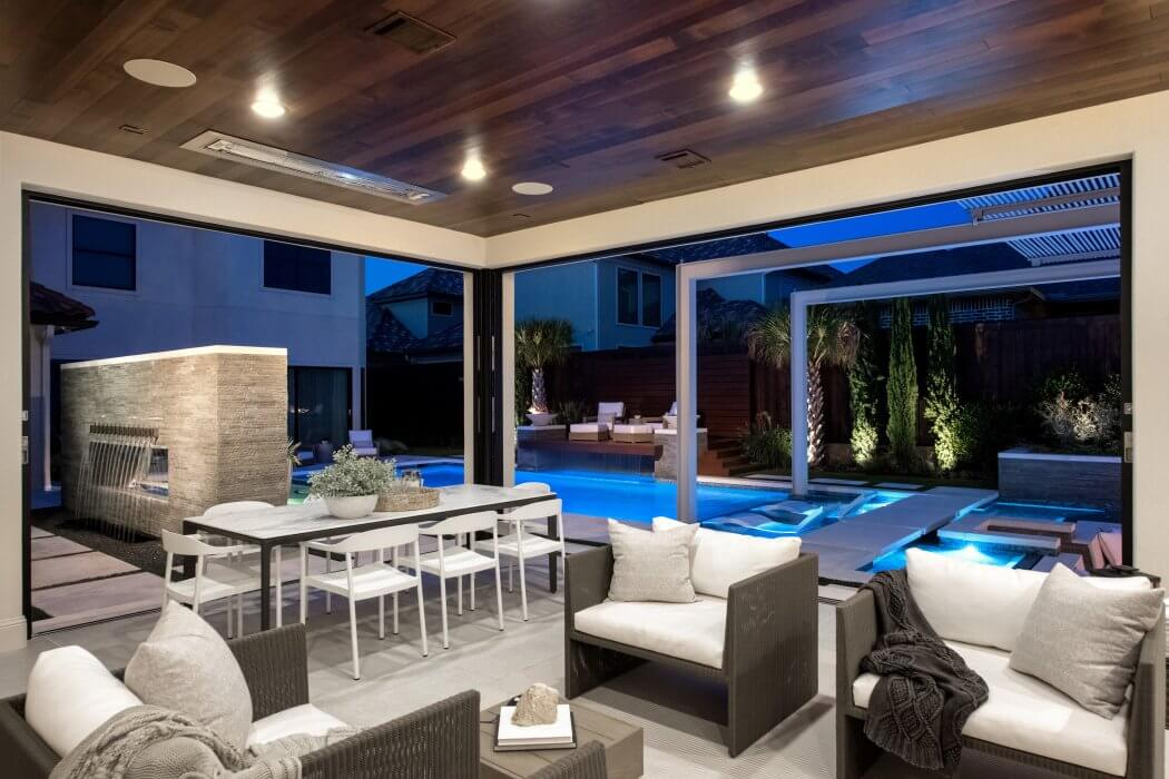 Evenings spent by the pool made perfect with flush mount infrared heaters.