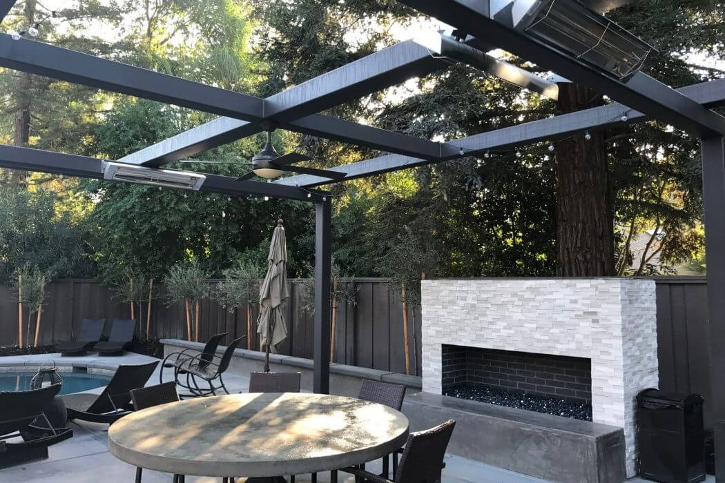 Infratech's WD-Series heaters are wall mounted outside to keep the charming Modesto, CA patio comfortable year-round.