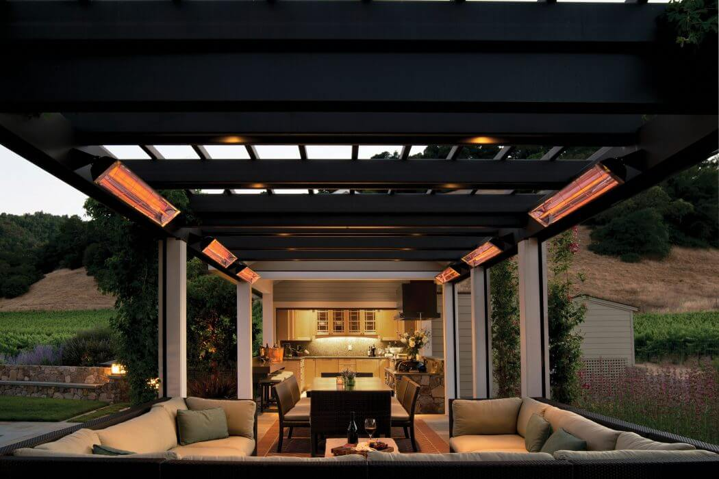 San Francisco craftsman style patio features Infratech's wall mounted W-Series heaters.