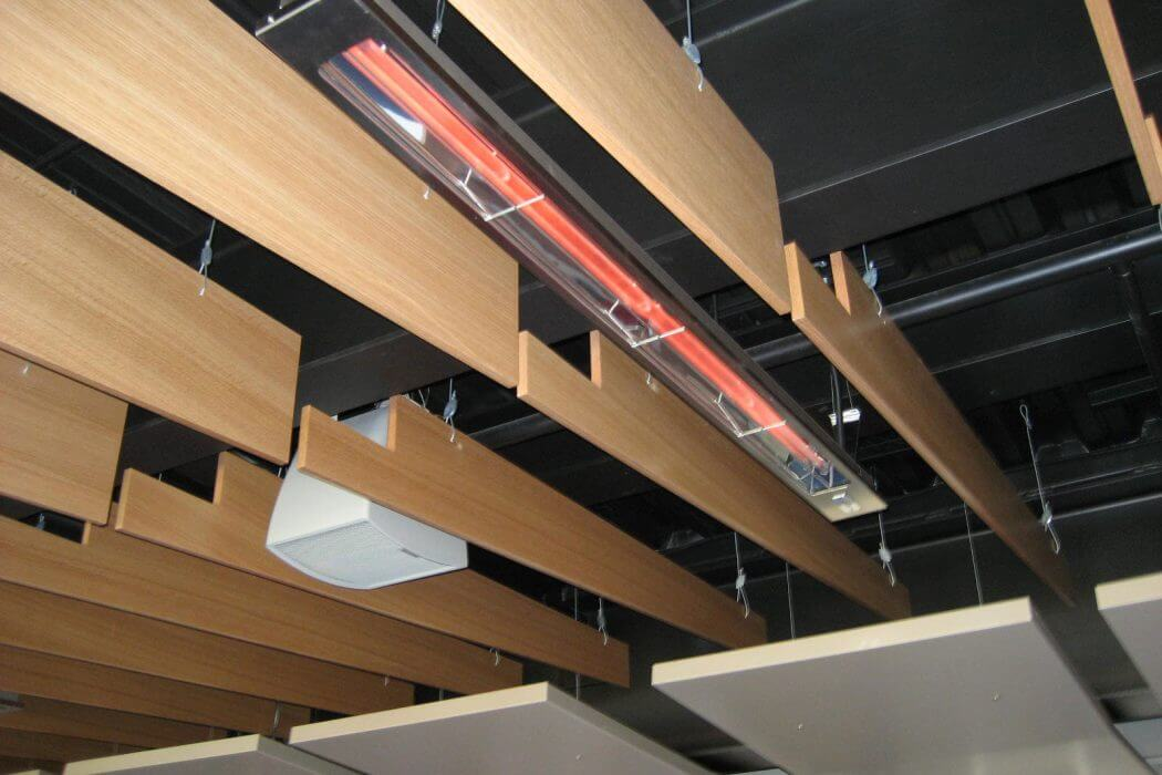 Ceiling mounted SL-Series Slimline heaters installed at the Minnesota Twins Stadium.
