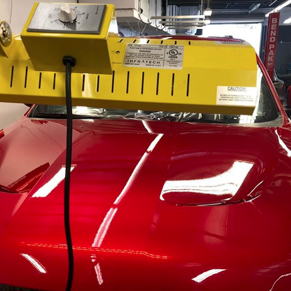 Our Speed Ray 2 short wave curing system at work securing this gorgeous cherry red.