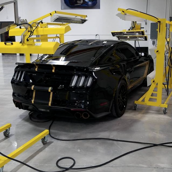 Putting the finishing touches on this Mustang with Infratech curing systems.