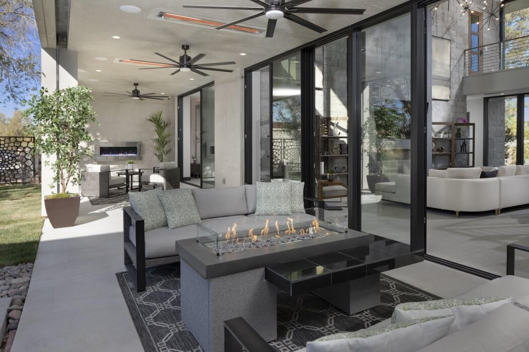 Flush mounted heaters complement the functionality of this Las Vegas home patio remodel.