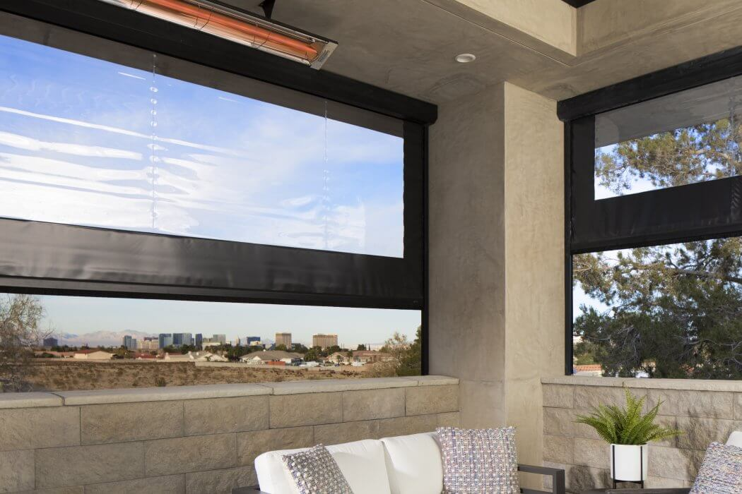 Las Vegas, NV outdoor living space enjoys the heat controlled climate with C-Series ceiling mounted heaters.