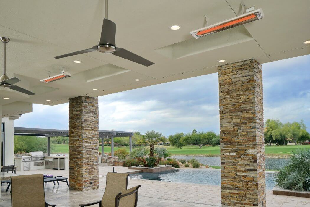 Dual element CD-Series heater ceiling mounted blends into the surrounding decor in color biscuit.
