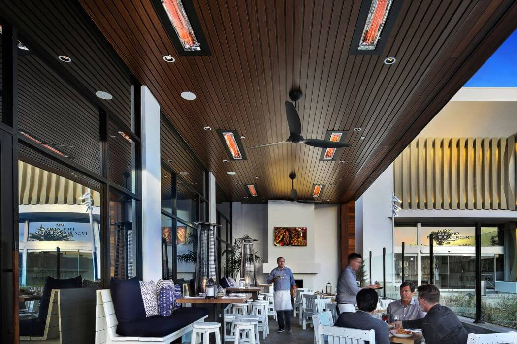 Brio Coastal Bar in Del Amo Fashion Center specified Infratech flush mounted WD-Series Heaters to extend outdoor dining all year.