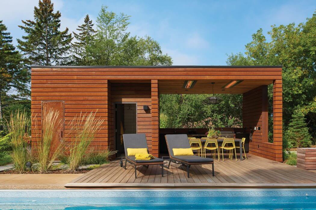 W-Series flush mounted heater installation featured in this poolside gazebo in Minnesota, MN.