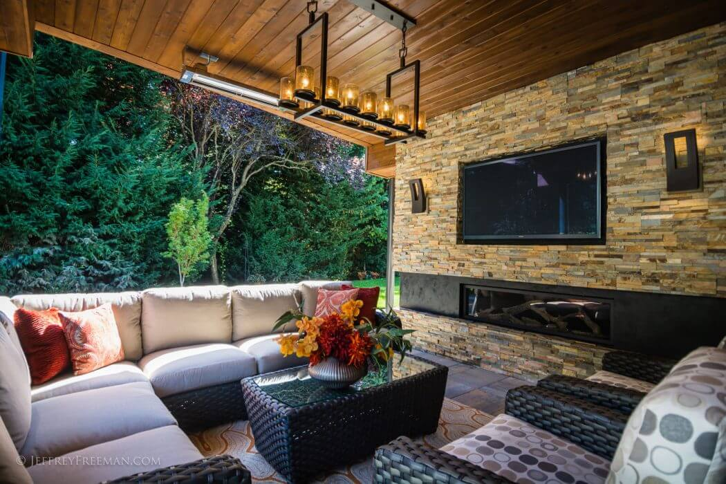 W-Series ceiling mounted heaters help Washington homeowners enjoy their outdoor living space in any season.