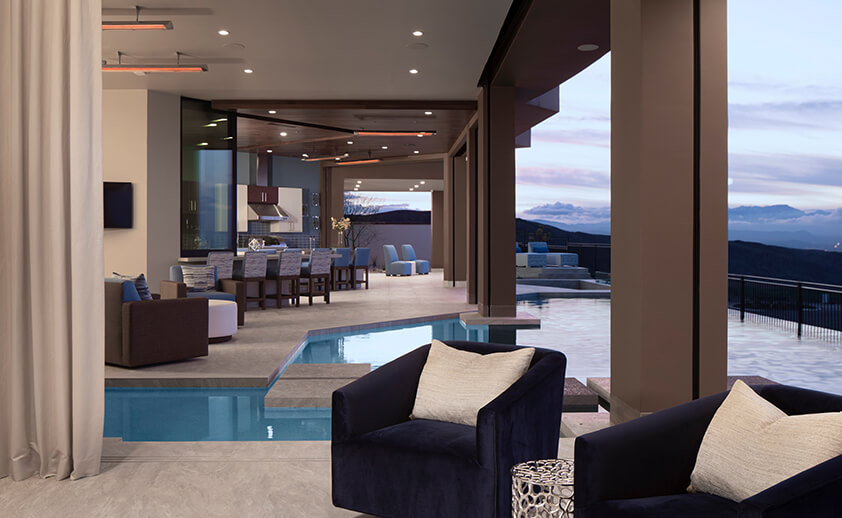 Views of Las Vegas, NV are enjoyed with several CD-Series heaters that provide comfort heat year round.